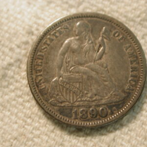1890 U.S Liberty Seated Dime Variety 4 About Uncirculated