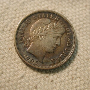 1905 U.S Barber dime About Uncirculated