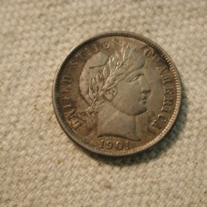 1901 U.S Barber Dime Type About Uncirculated