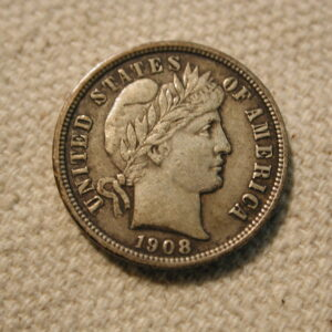 1908 U.S Barber Dime About Uncirculated