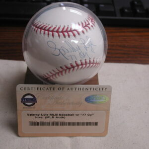 "Sparky Lyle Signed MLB American League Baseball ""77 CY Young"" Certified Steiner"