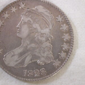 1828 U.S Capped Bust Half Dollar Very Fine small 8 square Base 2 Lg letters