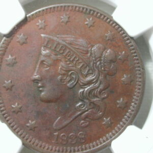 1838 Coronet Liberty Large Cent Penny NGC Certified 1C AU Details