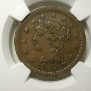 1852 Large Cent Penny NGC AU 50 BN Brown