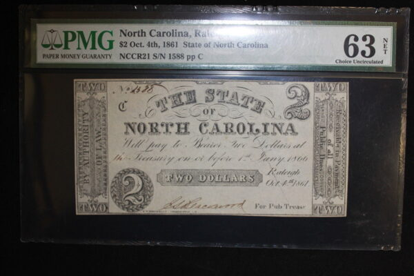 1861 Raleigh North Carolina $2 Note PMG NET 63 Choice Uncirculated