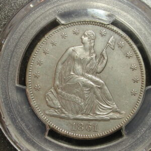 1861 Seated Liberty Half Dollar PCGS AU Details WB-101Variety Normal Date