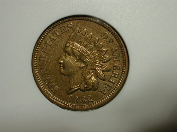 1862 1C Indian Cent ANACS EF 40 AU Details