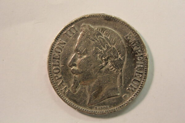1868A France Napoleon III Silver 5 Francs Extra Fine KM #7991