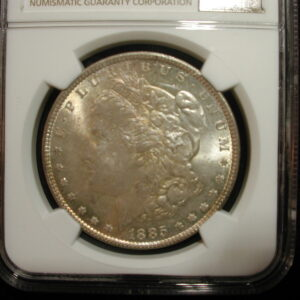 1885 Morgan Silver Dollar NGC Certified MS63 Golden Toning