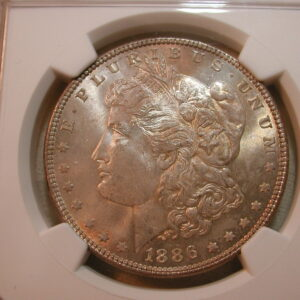 1886 Morgan Silver Dollar NGC Certified MS 64 Golden Toned