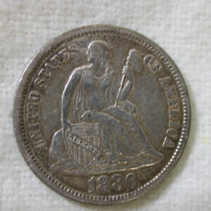 1886 U.S Liberty Seated Dime Variety 4 Extra Fine