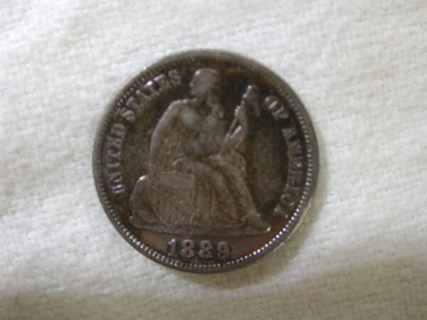 1889 U.S Liberty Seated Dime Variety 4 About Uncirculated