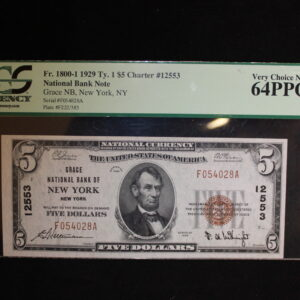 1929 $5 Grace National Bank Note FR #1800-1 PCGS 64 PPQ