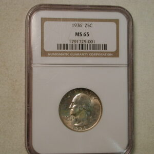 1936 25C Washington Quarter NGC MS 65 golden toning