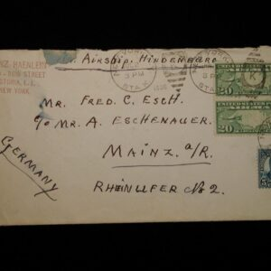 1936 ZEPPELIN Hindenburg flight NY City to Germany Cover July 2nd