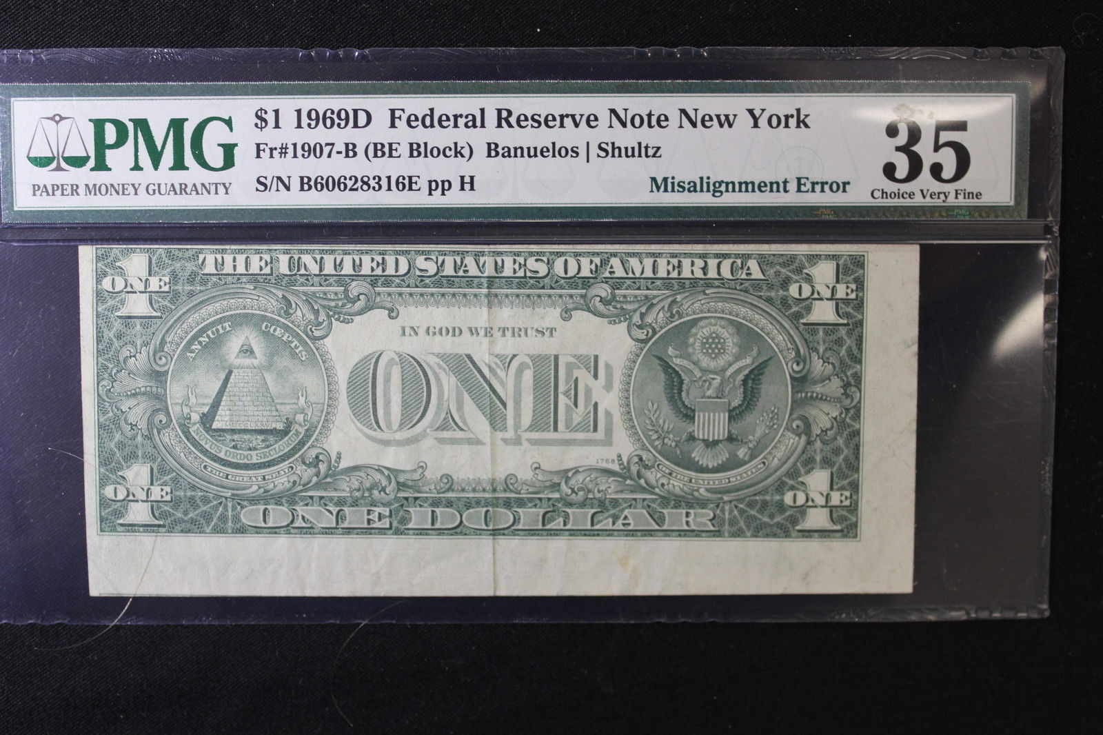 1969D New York Certified One Dollar Federal Reserve Bank Note FR #1907-B VF 3...