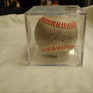 John Maine Autographed Baseball Official OLB3 League in presentation case