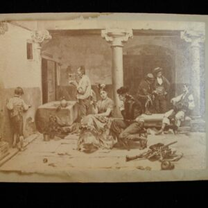 Cabinet Card Lobby Scene in Daily life flirting working rifles late 1890's