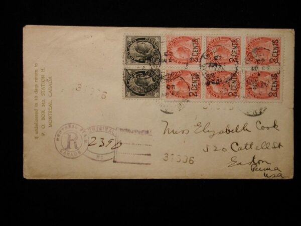Canada Montreal Registered Cover to United States 1925 Back Stamped Easton PA
