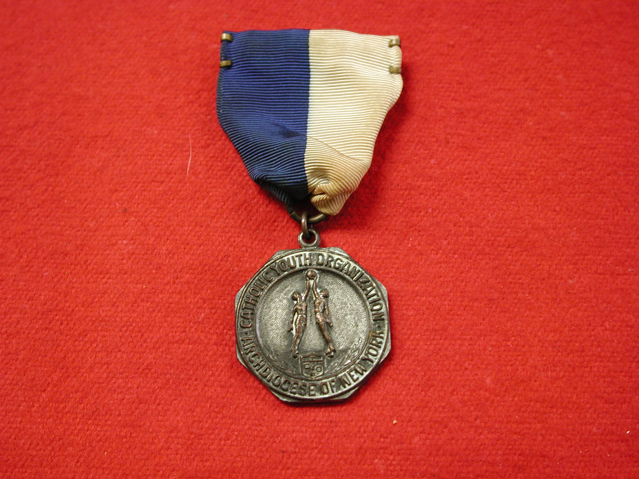 Dieges & Clust CYO 1953 basketball silver metal