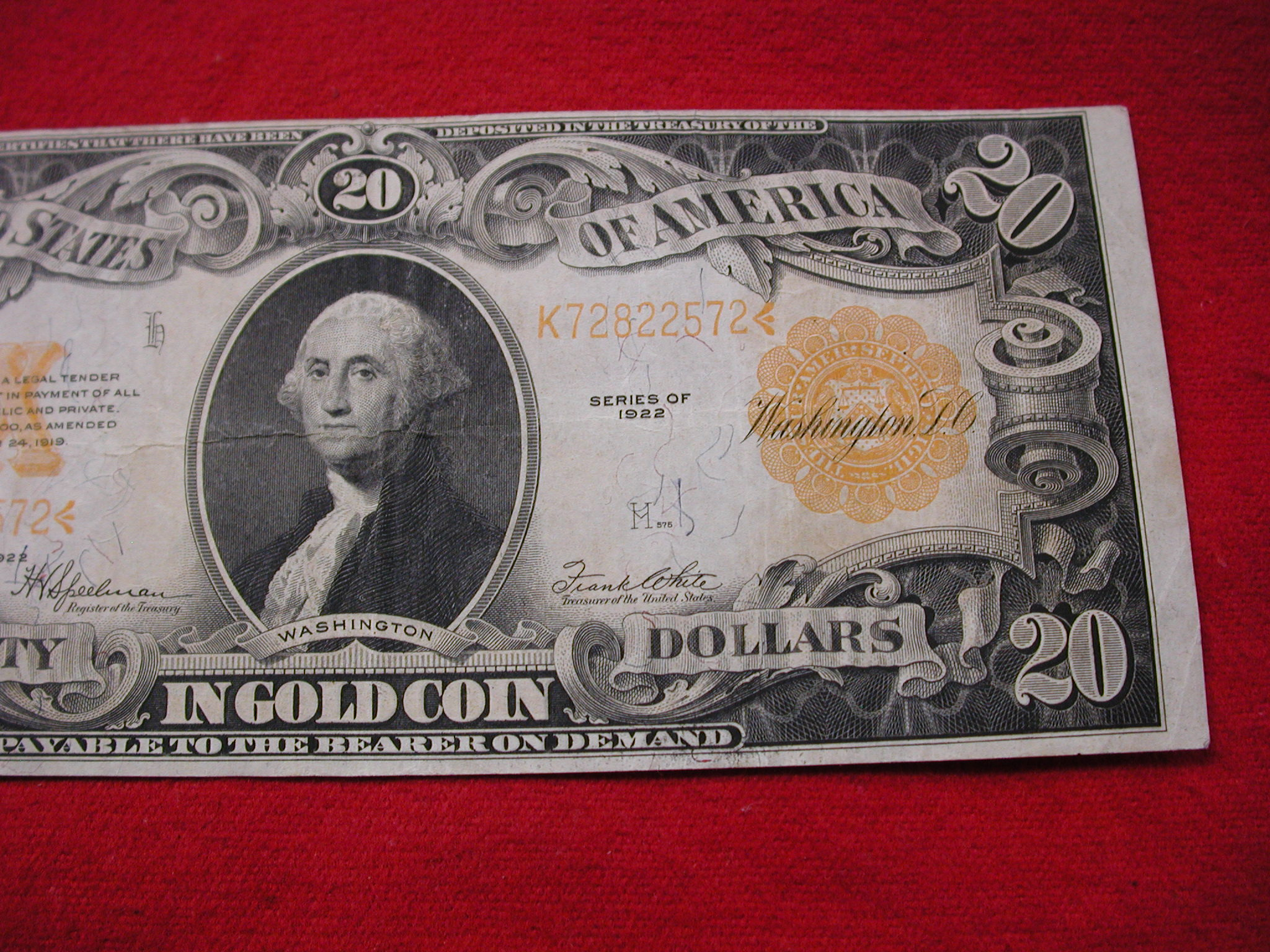 Still Pictures Are All Very Fine And >> 1922 Fr 1187 20 Gold Note Very Fine To Ef Still Crisp W Vibrant