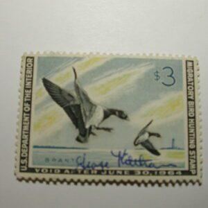 US Department of Interior Scott #RW30 $3 Pair of Brant Landing 1963, Used & Signed