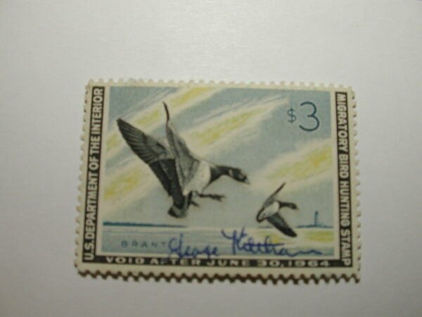 US Department of Interior Scott #RW30 $3 Pair of Brant Landing 1963, Used & Signed
