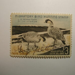 US Department of Interior Scott #RW31 $3 Hawaiian Geese Stamp 1964, Used & Signed