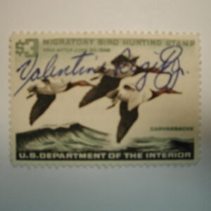 US Department of Interior Scott #RW32 $3 Canvas Backs Duck Stamp 1965, Used & Signed