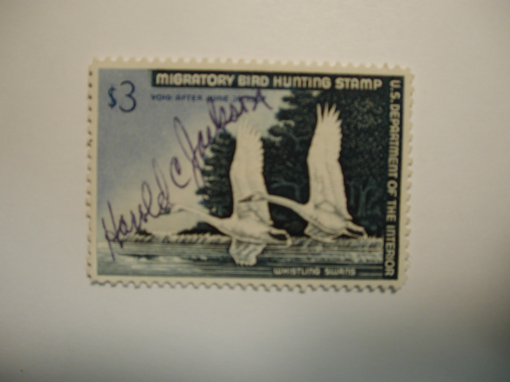 US Department of Interior Scott #RW33 $3 Whistling Swans Stamp 1966, Used & Signed