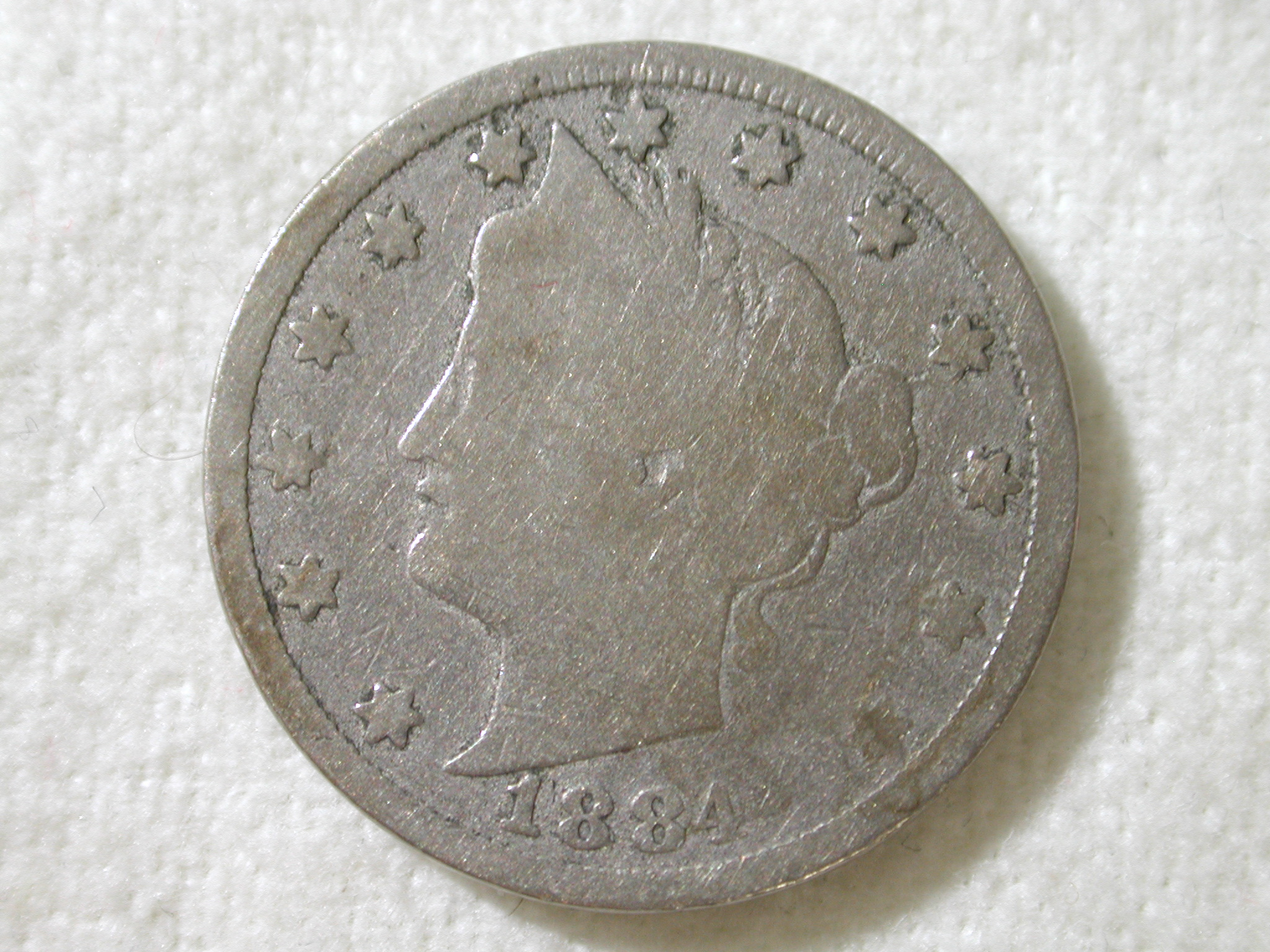 1884 U.S. 5 Cent Liberty Nickel Good Condition