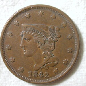 1842 U.S. Large Cent Braided Hair Large Date Extra Fine