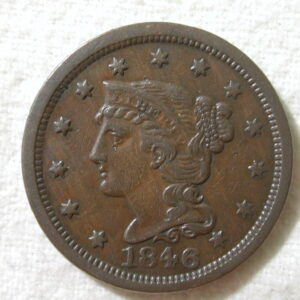 1846 U.S. Large Cent Braided Hair Small Date Extra Fine