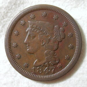 1847 U.S. Large Cent Braided Hair Extra Fine