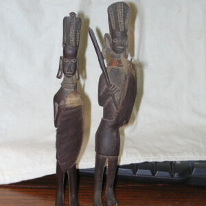 African Wood Statues Vintage Hand Carved Warriors