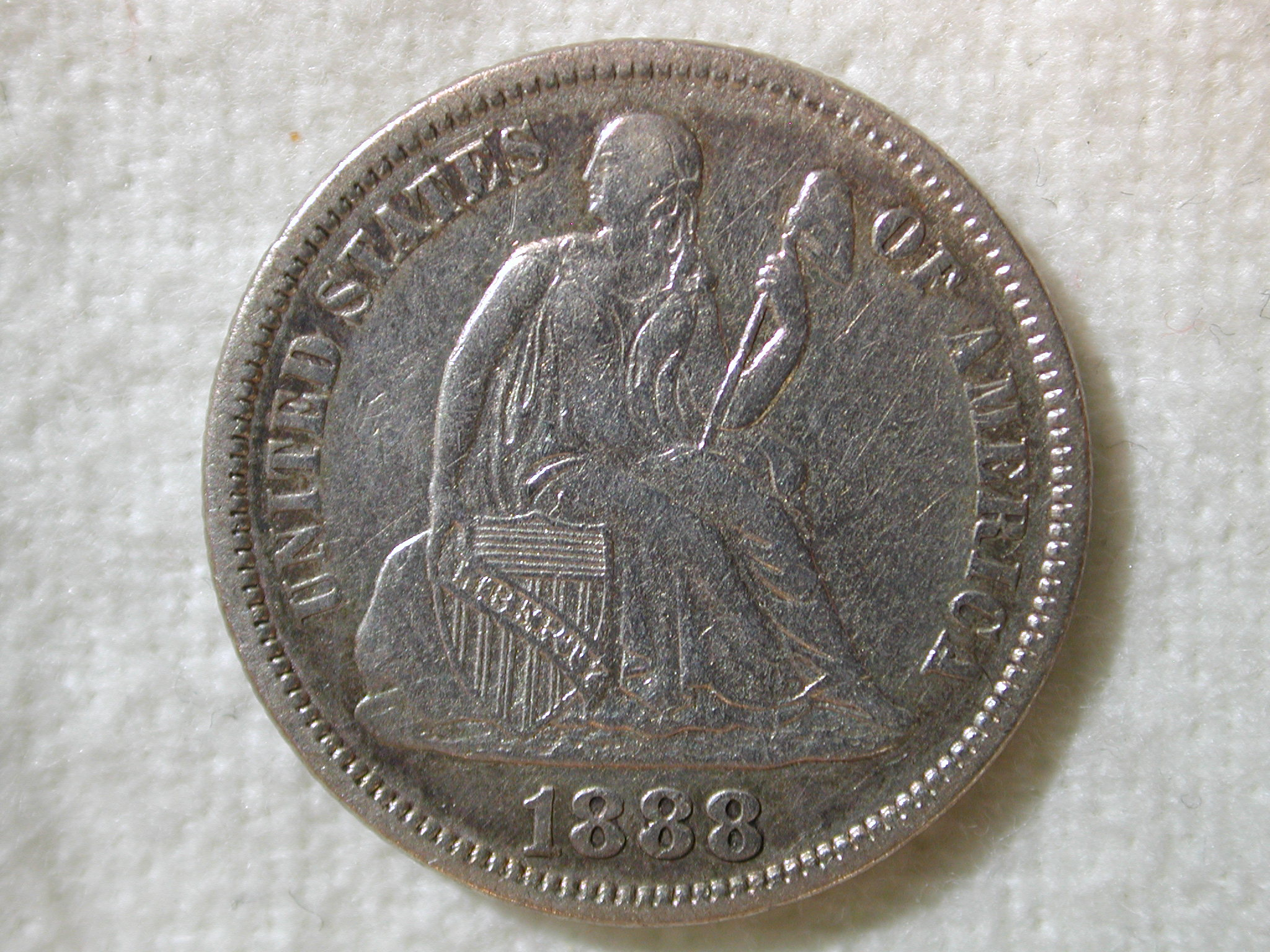 1888 U.S. Liberty Seated Dime Extremely Fine/AU