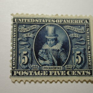 U.S. Scott #330 - 5 Cent Pocahontas 1907 Stamp /Hinged