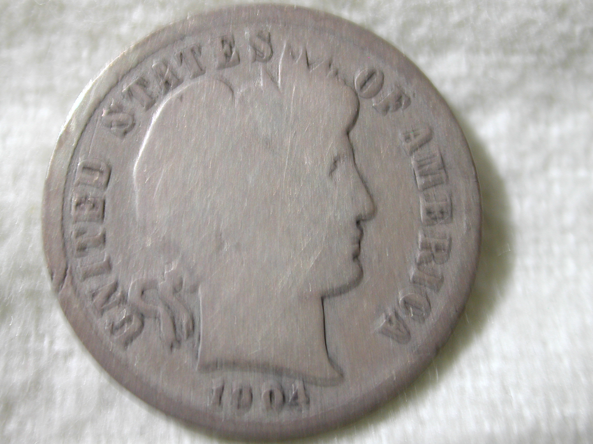 1904-S U.S Barber 10 Cent Dime Type Good