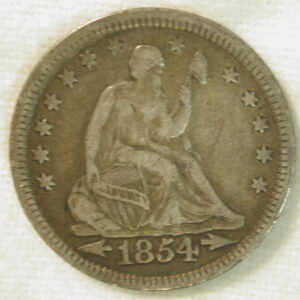 1854 U.S. Liberty Seated Quarter with Arrows Very Fine