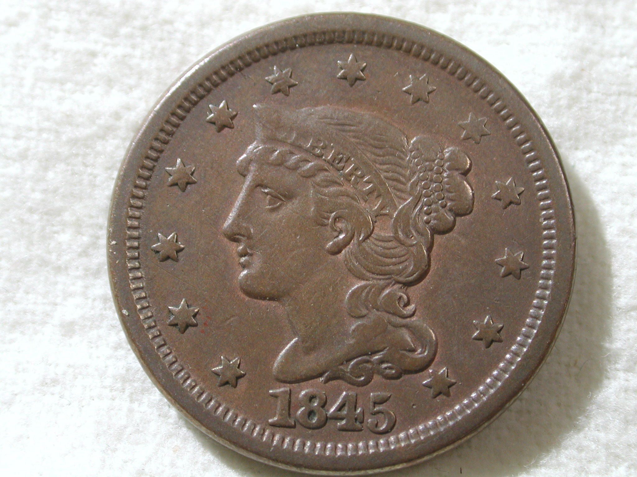 1845 U.S. Large Cent Type Braided Hair Very Fine