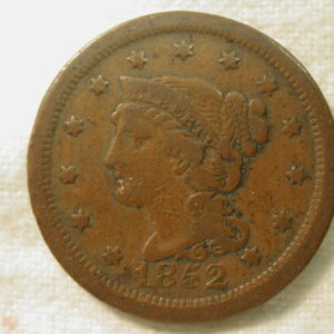 1852 U.S. Large Cent Braided Hair Type Fine
