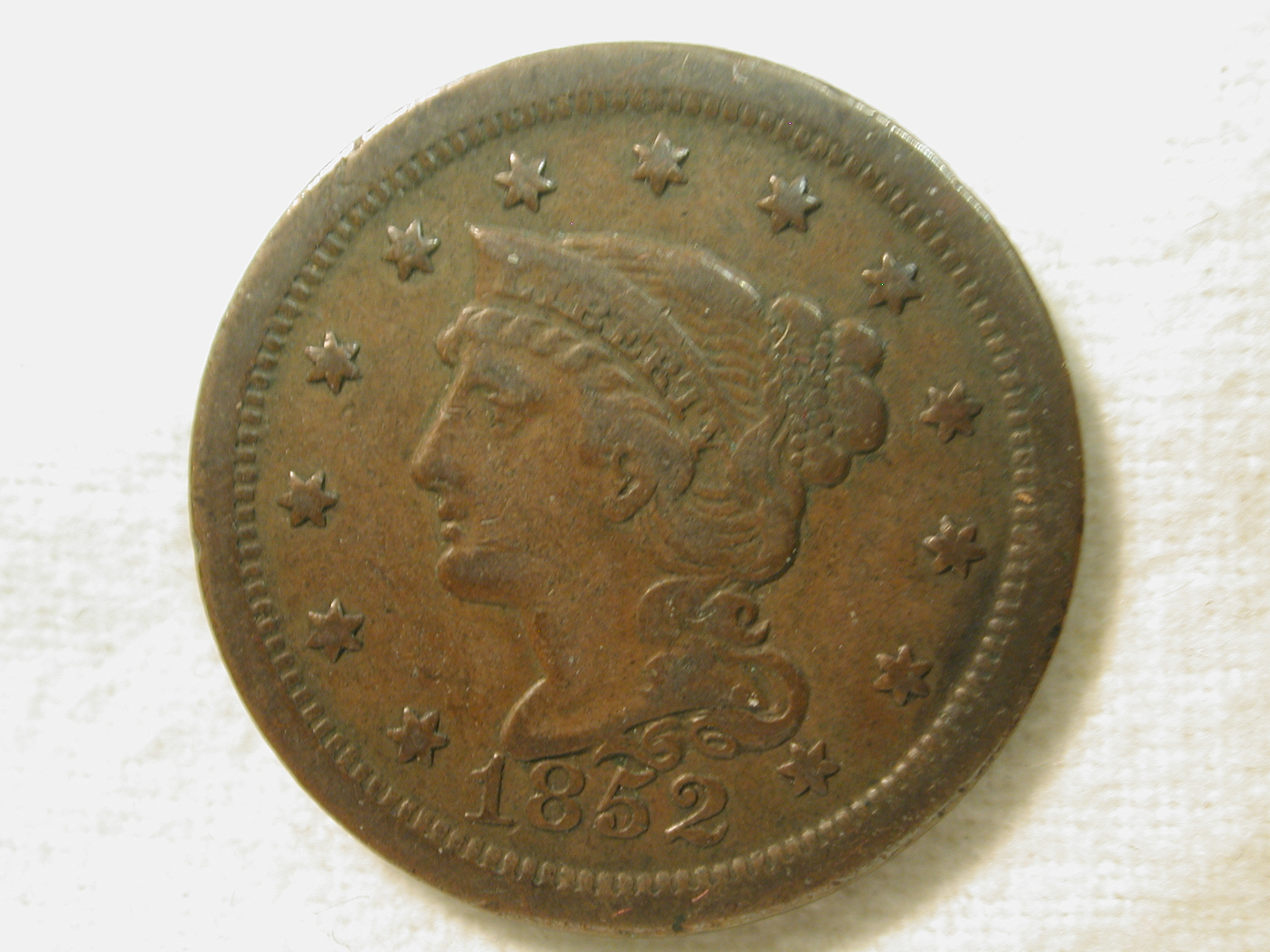 1852 U.S. Large Cent Braided Hair Type Very Fine