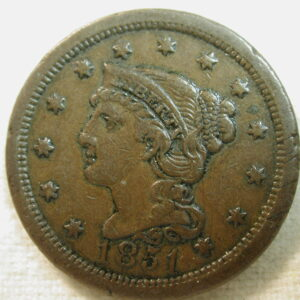 1851 U.S. Large Cent (Coronet Type Modified Portrait) Extremely Fine