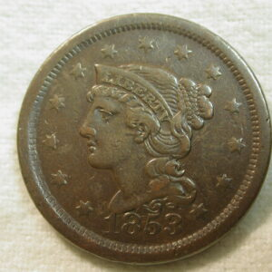 1853 U.S. Large Cent Braided Hair Type Extremely Fine