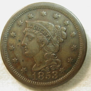 1853 U.S. Large Cent Braided Hair Extra fine