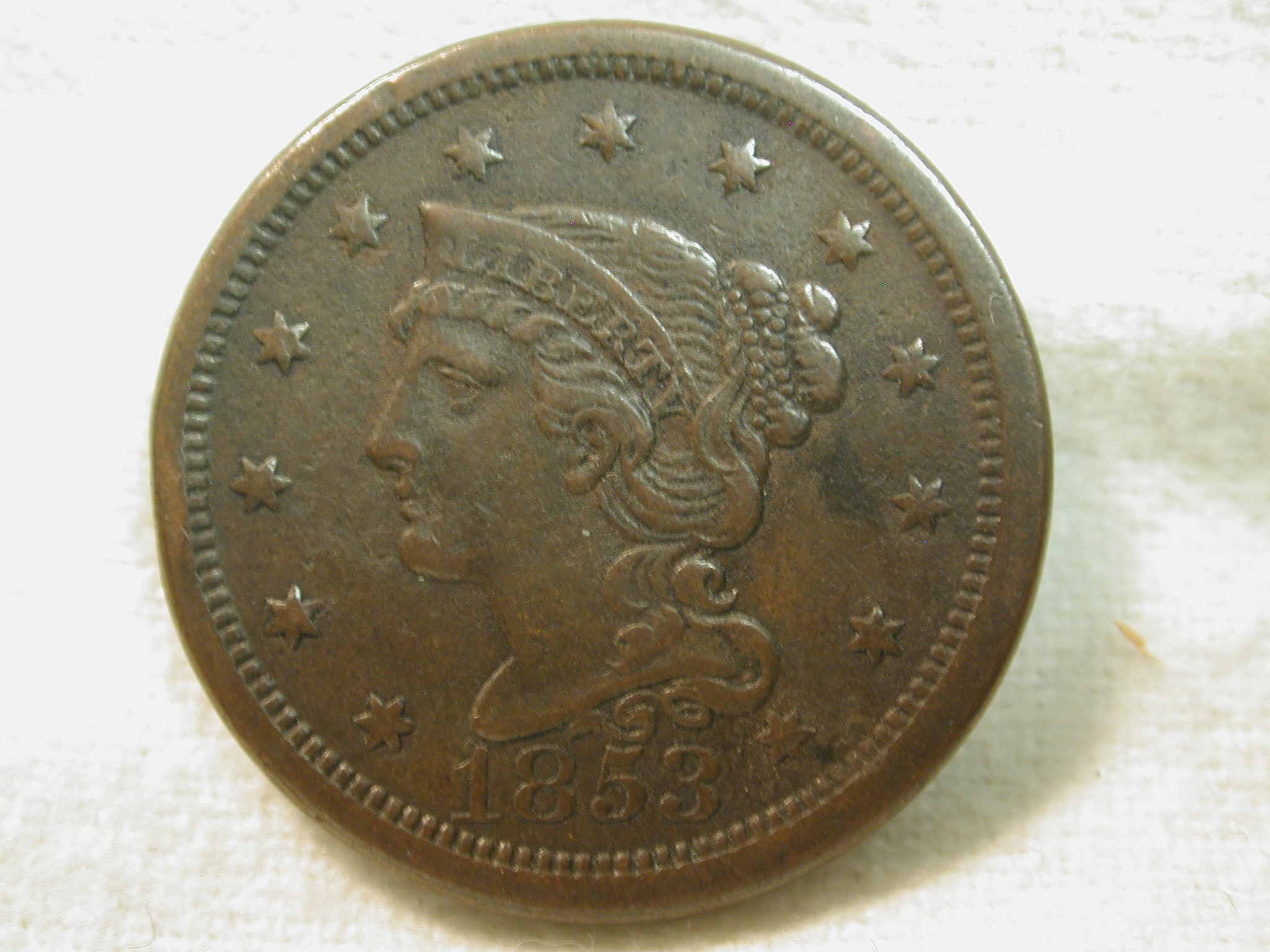 1853 U.S. Large Cent Modified Portrait Braided Hair (Environmental Damage) Extremely Fine