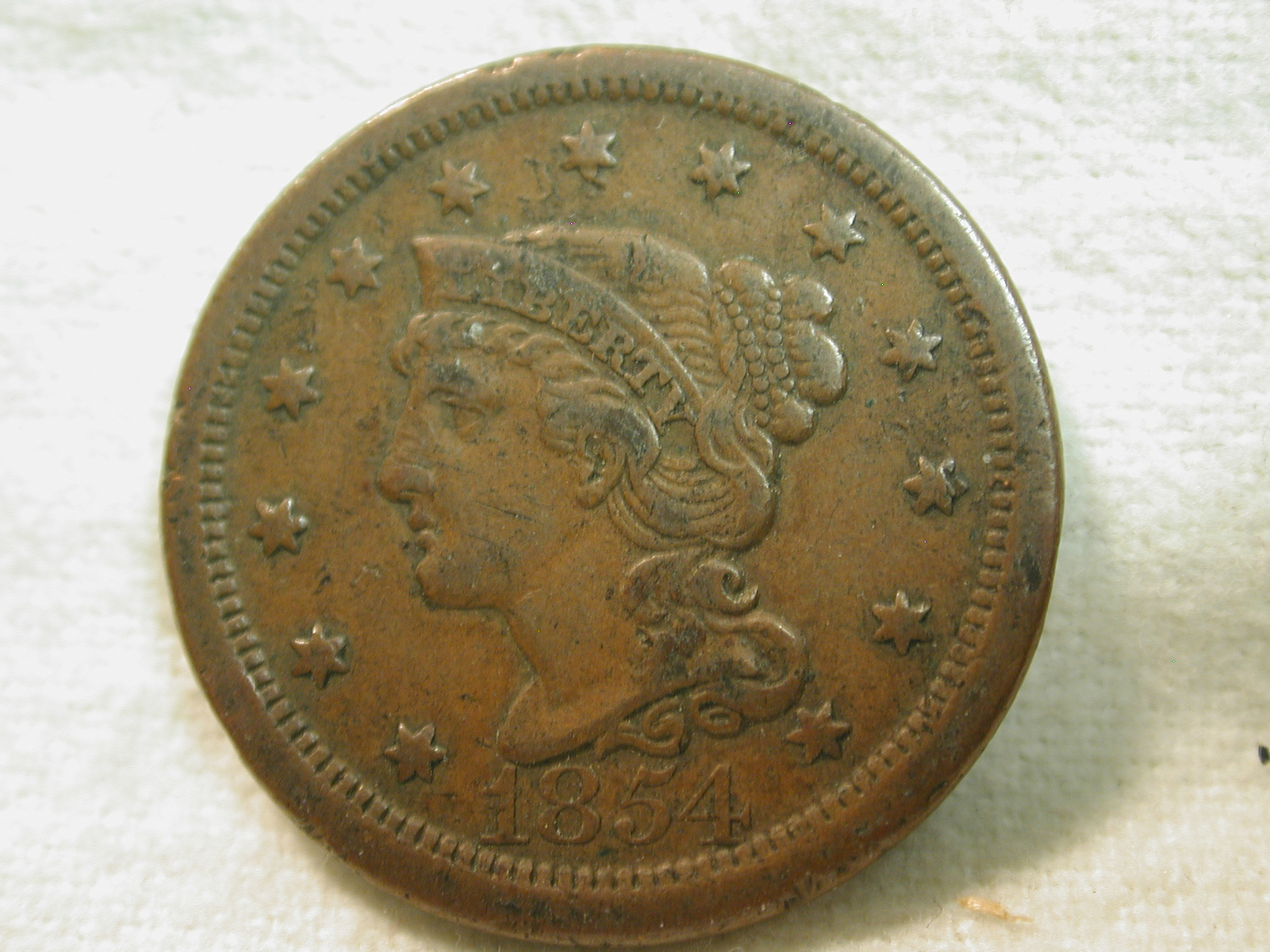 1854 U.S. Large Cent (Braided Hair) Very Fine
