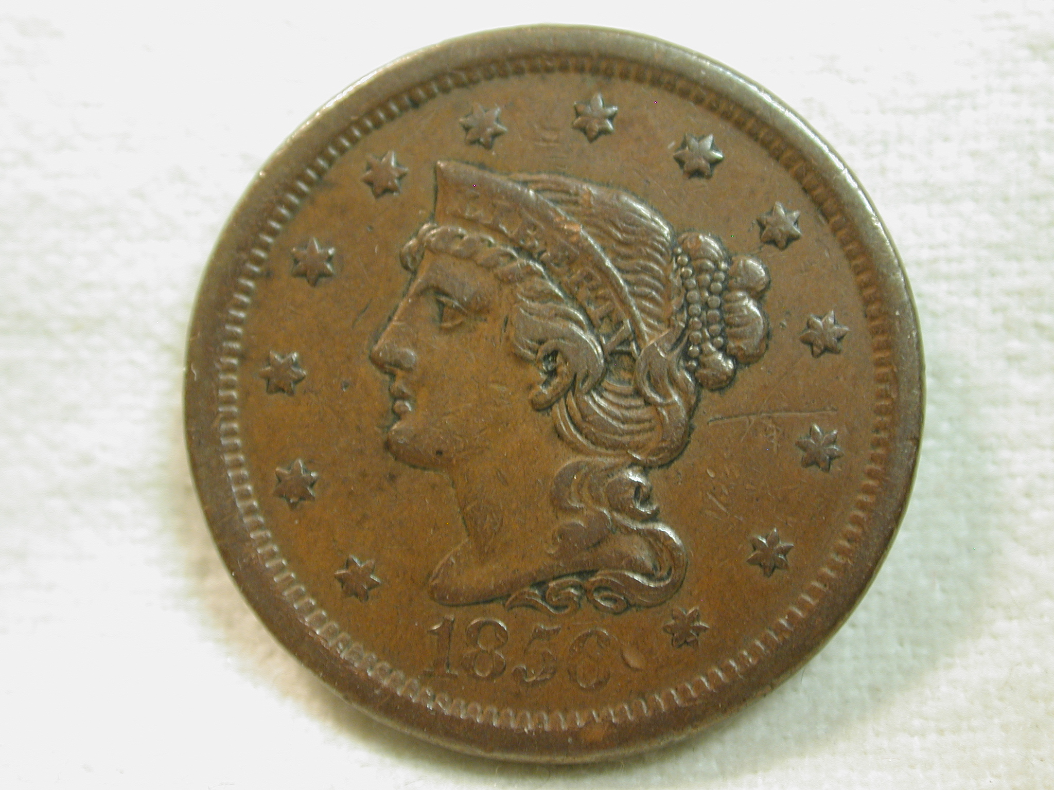 1856 U.S. Large Cent Coronet Modified Portrait-Braided Hair Extremely Fine (Irregular Surfaces)+