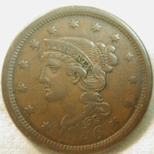 "1856 U.S. Large Cent ""Braided Hair Type"" Liberty Head Very Fine"