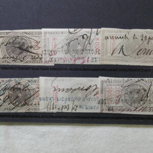 France 6 Revenue Stamps Cancelled